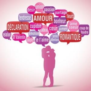 nuage de mots bulles silhouette : saint valentin amour