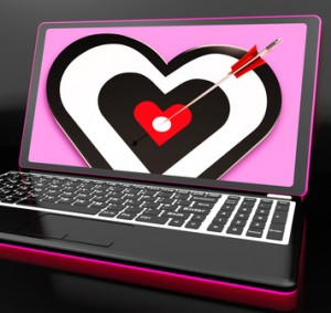 Target Heart On Laptop Showing Passion