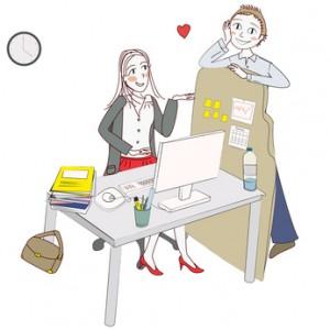 femme moderne flirt au bureau